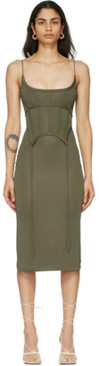 Dion Lee Green Silk Jersey Corset Dress