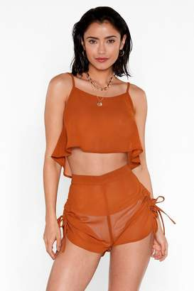 Nasty Gal Womens Beachy Keen Cami Top And Shorts Cover-Up Set - Orange - 8