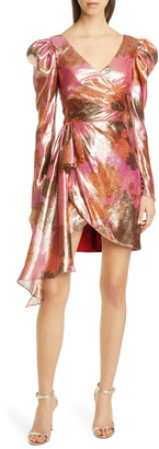 Flor Et. Al Abbott Long Sleeve Metallic Silk Cocktail Dress