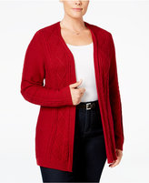 Karen Scott Plus Size Open-Front Cardigan, Only at Macy's