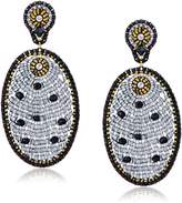 Miguel Ases Quartz and Swarovski Oval Drop Earrings