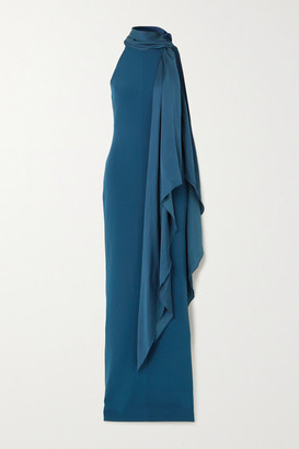SOLACE London Dahlia Tie-detailed Jersey And Crepe Halterneck Gown - Petrol