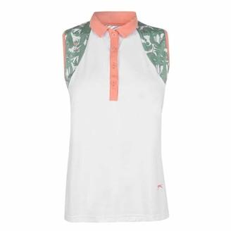 Slazenger . Womens Sleeveless Polo Shirt Printed Design (White/Floral 10)