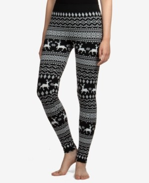 Hippie Rose Juniors' Reindeer Patterned Fleece-Lined Leggings