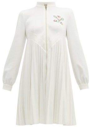 Gucci Tennis Logo-embroidered Pleated Dress - Womens - Ivory Multi