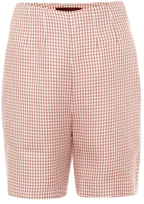 ALEXACHUNG May high-rise houndstooth shorts