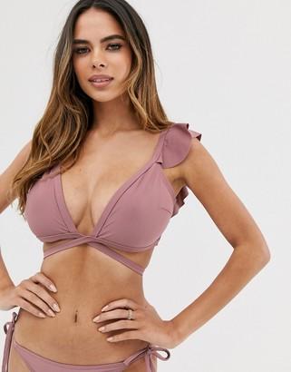 Asos Design DESIGN fuller bust plunge frill bikini top in mauve dd-g-Purple