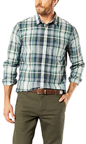 Dockers Poplin Check Laundered Slim Fit Shirt, Green/dark Blue Plaid