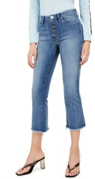 Greene St. Denim Cropped Button-Fly Jeans