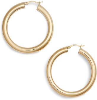 Argentovivo Medium Hollow Hoop Earrings