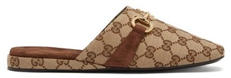 Gucci Pericles Gg-canvas Horsebit Slippers - Beige Multi