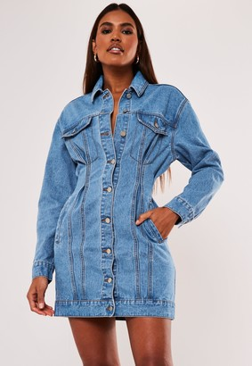 Missguided Blue Cinched Waist Denim Dress