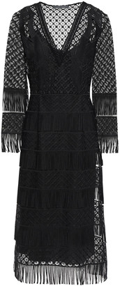 Alberta Ferretti Fringed Guipure Lace Dress