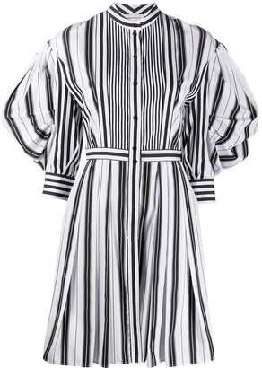 Alexander McQueen Puff-Sleeve Striped Shirt Dress
