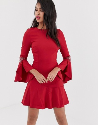 Little Mistress long flute sleeve dress-Red
