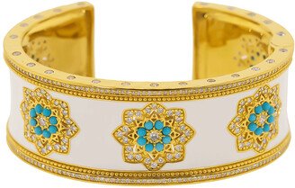BUDDHA MAMA Diamond Mandala and White Enamel Cuff