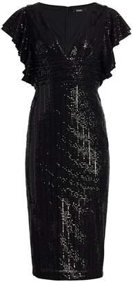 Badgley Mischka Sequin Flutter Sleeve Sheath Dress