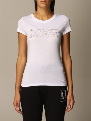 Armani Collezioni Armani Exchange T-shirt Love Slim Logo Half Sleeve Crewneck