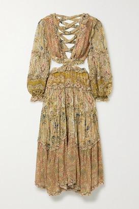 Zimmermann Freja Cutout Paisley-print Georgette Maxi Dress - Light brown