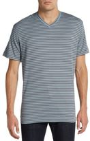 Saks Fifth Avenue BLACK Slim-Fit Striped Ice Cotton V-Neck Tee