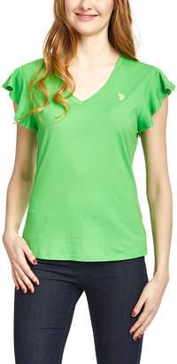 U.S. Polo Assn. Women's Tee Shirts VRGR - Green Flutter-Sleeve V-Neck Tee - Women