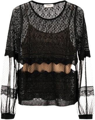 Twin-Set Tulle-Embellished Sheer Blouse