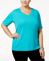Karen Scott Plus Size Cotton V-Neck T-Shirt, Only at Macy's