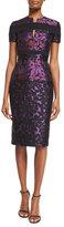 J. Mendel Short-Sleeve Floral Jacquard Sheath Dress, Mulberry/Black