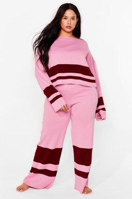 Nasty Gal Womens Colorblock the Haters Plus Lounge Pants Set - Pink