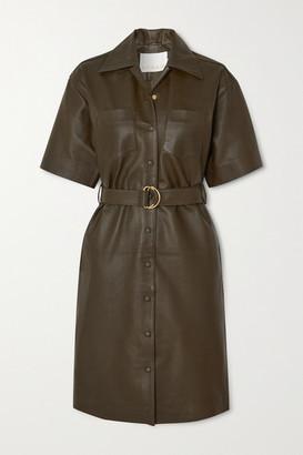 REMAIN Birger Christensen Puglia Belted Leather Dress - Army green