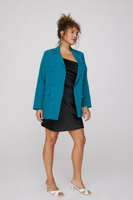 Nasty Gal Womens Mind Your Business Plus Oversized Blazer - Teal
