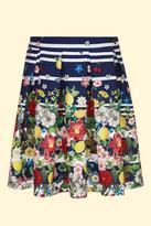Yumi Girl Floral Stripe Pleated Skirt Navy