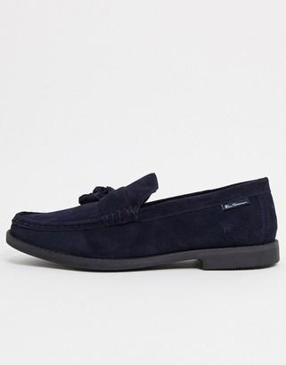 Ben Sherman suede tassel loafers in navy