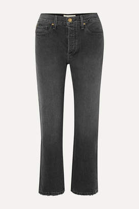 The Great The Lasso Cropped High-rise Straight-leg Jeans - Black