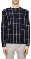 Theory Vernnon Windowpane Wool Crewneck Sweater