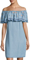 Neiman Marcus Embroidered-Ruffle Off-the-Shoulder Dress, Blue