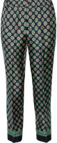 J.Crew Quilina Cropped Printed Silk-twill Straight-leg Pants - Navy