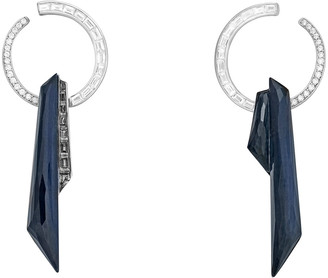 Stephen Webster CH2 Shard Hoop Earrings in 18K White Gold with Falcons Eye