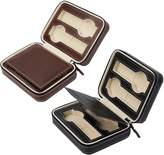 MonkeyJack 2 Pieces 4 Slots Faux Leather Watch Travel Case Collector Storage Zipper Box