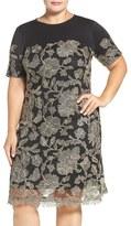 Tadashi Shoji Plus Size Women's Lace Overlay Short Sleeve Scuba Knit Dress