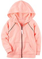Carter's Toddler Girl Neon Pink French Terry Zip-Up Hoodie