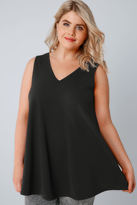 Yours Clothing Black Sleeveless Swing Top