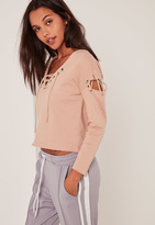 Petite Extreme Brown Lace Up Jumper, Beige