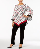 Alfani Plus Size Angel-Sleeve V-Hem Top, Only at Macy's