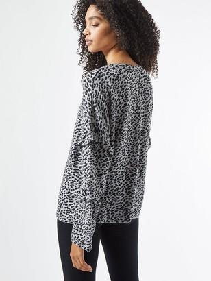 Dorothy Perkins Animal Ruffle Sleeve Brushed Top - Grey