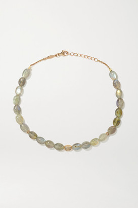 Jacquie Aiche 14-karat Rose Gold, Labradorite And Diamond Anklet - one size