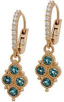 Judith Ripka 14K Gold London Blue Topaz &Diamond Earring