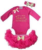 Kirei Sui Baby Hot Pink Gold Bow Pettiskirt & Half Birthday Bodysuit Dress Outfit