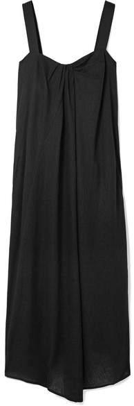 Vince Draped Gauze Midi Dress - Black