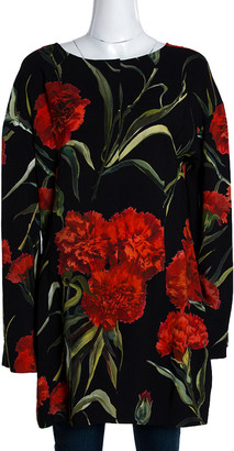 Dolce & Gabbana Black and Red Floral Printed Long Sleeve Tunic M
